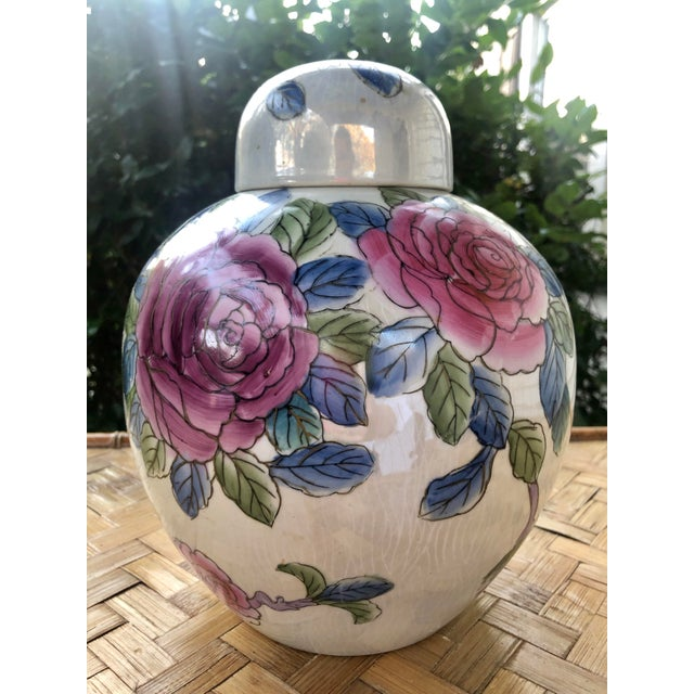 Ceramic Hand Painted Rose Floral Porcelain Ginger Jar For Sale - Image 7 of 7