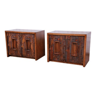 Lane Pueblo Brutalist Mid-Century Modern Oak Nightstands - a Pair For Sale