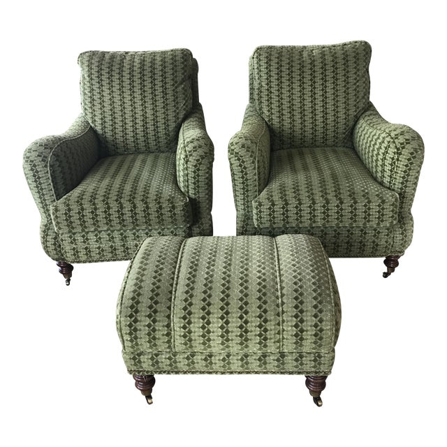 Upholstered Lounge Chairs & Ottoman - Set of 3 - Image 1 of 5