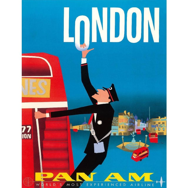Vintage Reproduction Blue London Travel Poster - Image 2 of 2