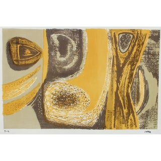 Golden Yellow Modernist Abstract Lithograph For Sale