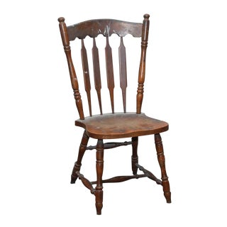 Wooden Arch Bannister Back Chair For Sale