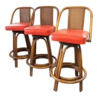 Vintage Mid Century Ficks Reed Cal Tiki Bar Stools- Set of 3 For Sale