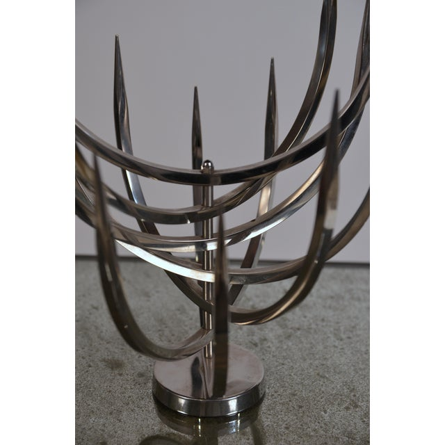 Metal Polished Stainless Steel Candle Tree by Xavier Feal For Sale - Image 7 of 9