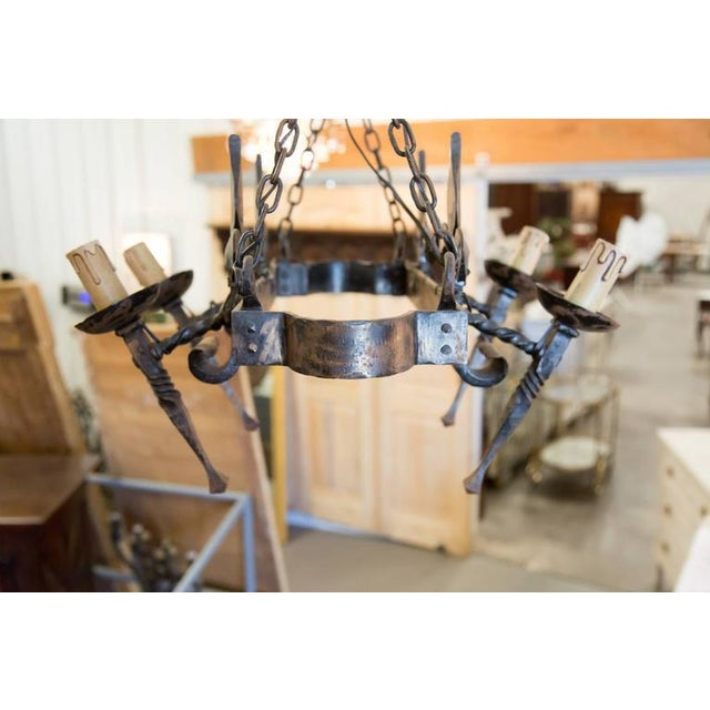 French Country Four Light Hand-Forged Iron Fleur De Lis Chandelier For Sale In Birmingham - Image 6 of 10