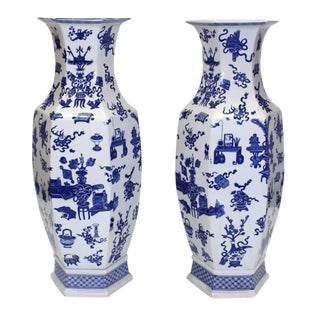Chinese Blue & White Hexagonal Vases - A Pair For Sale