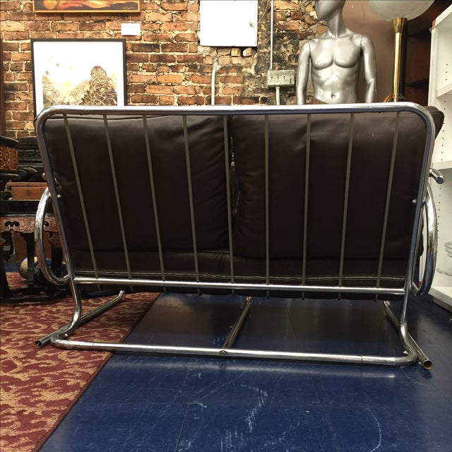 Chrome and Brown Leather Loveseat - Image 5 of 6