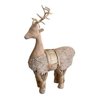 Vintage Scandinavian Julbock Style Rattan Deer Statue For Sale