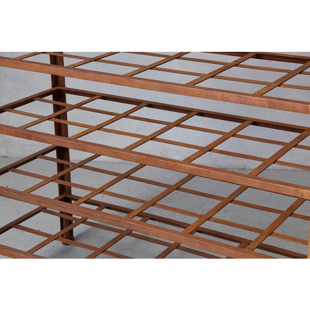 Brown Industrial 5 Tier Shelf With Grid Shelves for Books or Usage as Seedling Planter For Sale - Image 8 of 11