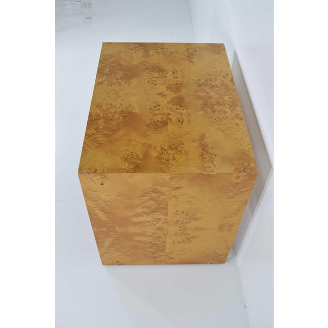 Mid-Century Modern 1970s Milo Baughman Burl Wood Side Table For Sale - Image 3 of 12