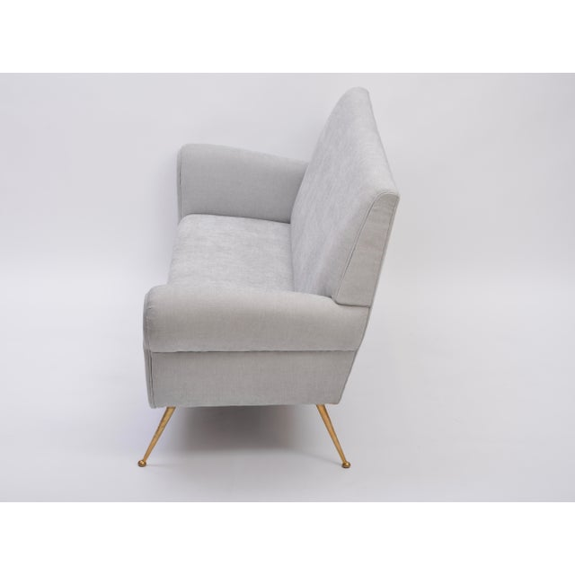 Reupholstered Grey Midcentury Sofa by Gigi Radice for Minotti For Sale - Image 6 of 9