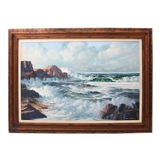"""Oil on Canvas, """"Shore Line at High Tide"""" Large Scale Painting by Robert P. Wheeler For Sale"""