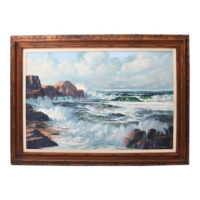 "Oil on Canvas, ""Shore Line at High Tide"" Large Scale Painting by Robert P. Wheeler For Sale"