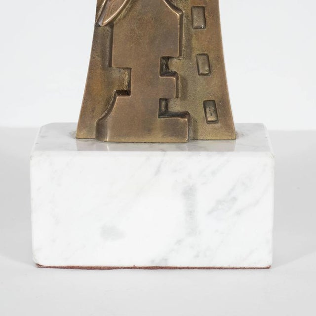 1980s Mid-Century Modern Sculpture in Patinated Bronze and Marble by S. Monachesi For Sale - Image 5 of 10