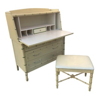 1970's Hollywood Regency Thomasville Faux Bamboo Secretary Desk and Bench - 2 Pieces For Sale