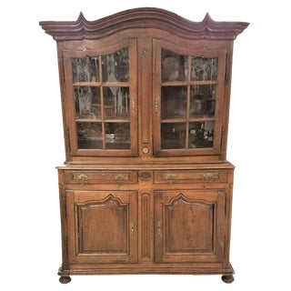 C. 1800 French Provincial Oak Dresser Cabinet With Glass Doors and Shelving For Sale