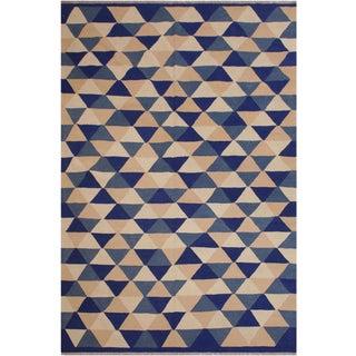 Retro Kilim Blue Hand-Woven Wool Rug - 6′4″ × 8′9″ For Sale