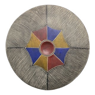 Mid 20th Century African Tribal Art Painted Wood Zulu Round Shield For Sale