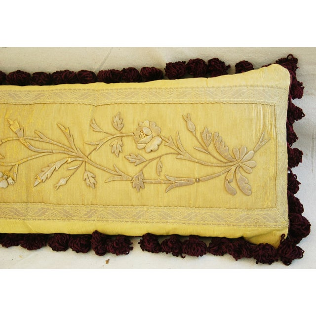 Antique French Silk Embroidered Pillow - Image 2 of 8