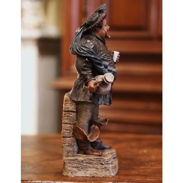 Ceramic 19th Century French Polychrome Terracotta Musketeer Beer Drinker Figurine For Sale - Image 7 of 10