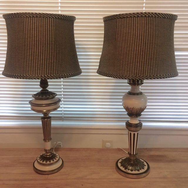 French Country Style Table Lamps - Pair - Image 2 of 10