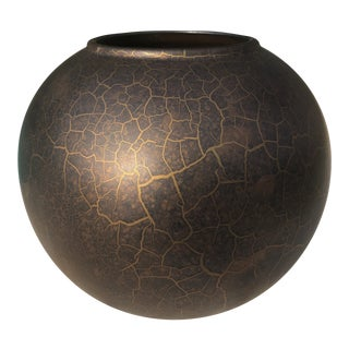 1970s Vintage Sceurich Keramik Modern Black Gold and Iridescent Ball Vase For Sale