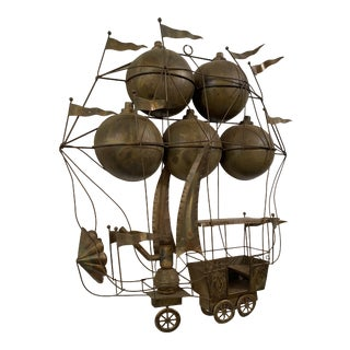 1960s Hot Air Ballon Metal Wall Sculpture For Sale