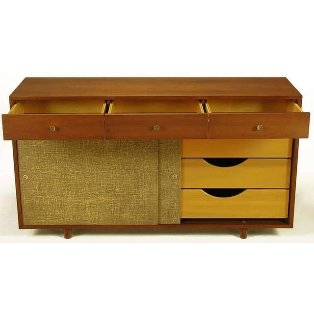 1950s Walnut & Lacquered Linen Front Nine-Drawer Cabinet For Sale - Image 5 of 10