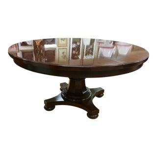 Round Mahogany Dining Room Table With Expandable Leaf For Sale