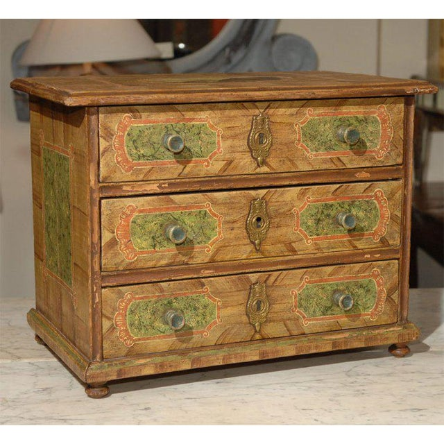 19th century Continental European painted miniature chest. Probably from Germany.