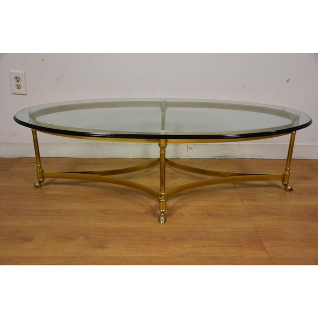 Hollywood Regency Brass & Glass Coffee Table - Image 3 of 8