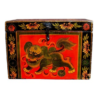 Mid 20th Century Hand Painted Tibetan Foo Dog Box #7 For Sale