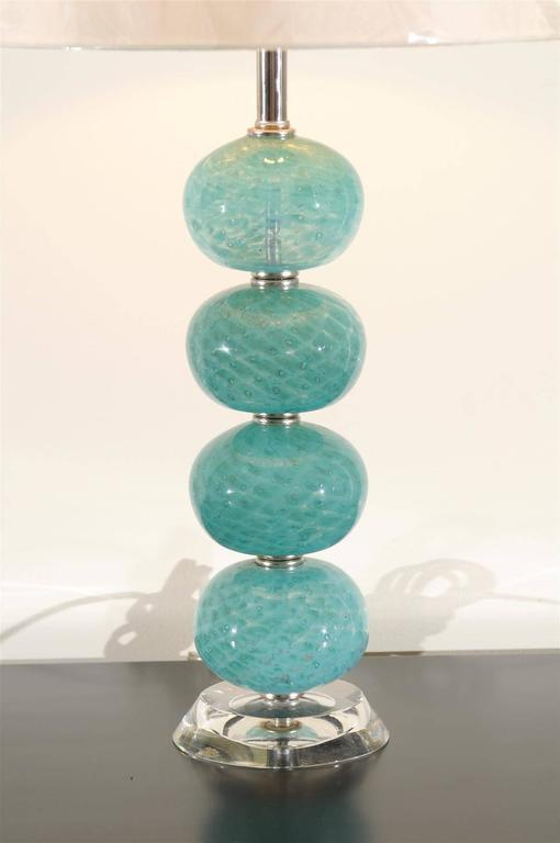 Outstanding Pair Of Vintage Stacked Blown Glass Ball Murano Lamps   Image 3  Of 11