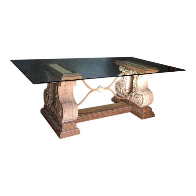 Double Pedestal Stone Base Dining Table W/ Beveled Glass Top For Sale