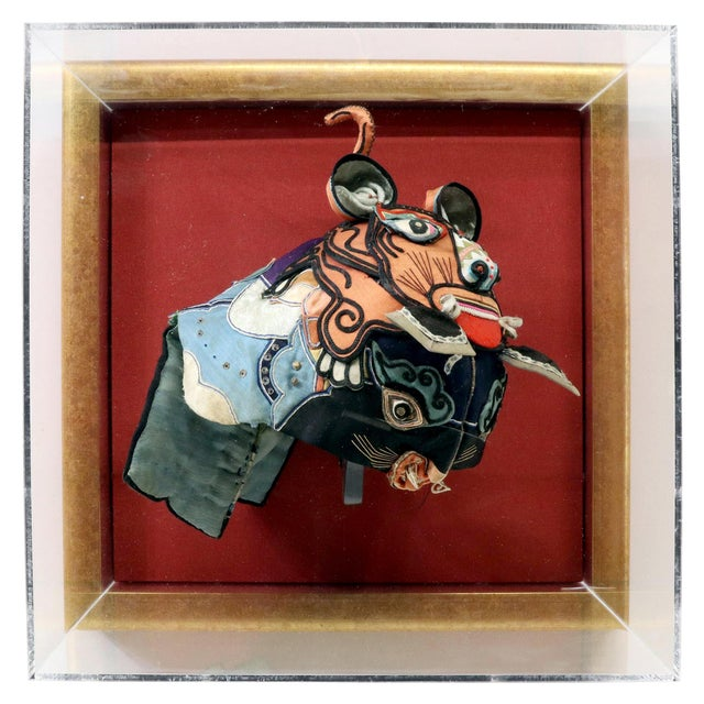 Framed Antique Chinese Child Tiger-Head Hat For Sale - Image 12 of 12