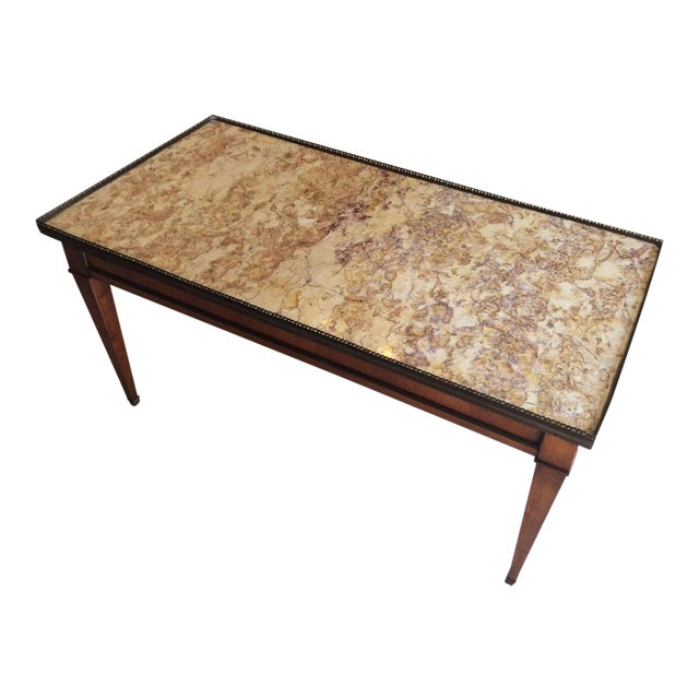 French Walnut Coffee Table With Marble Top For Sale