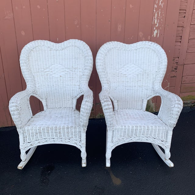 1940s Pair of Antique Wicker Rocking Chairs For Sale - Image 5 of 5