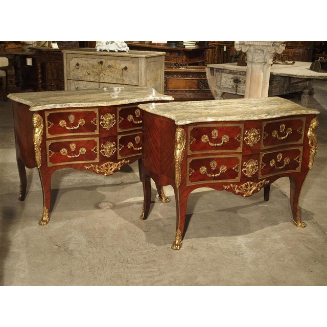 Pair of Early 1900s Mahogany and Gilt Bronze Mounted Louis XV Style Commodes For Sale - Image 13 of 13