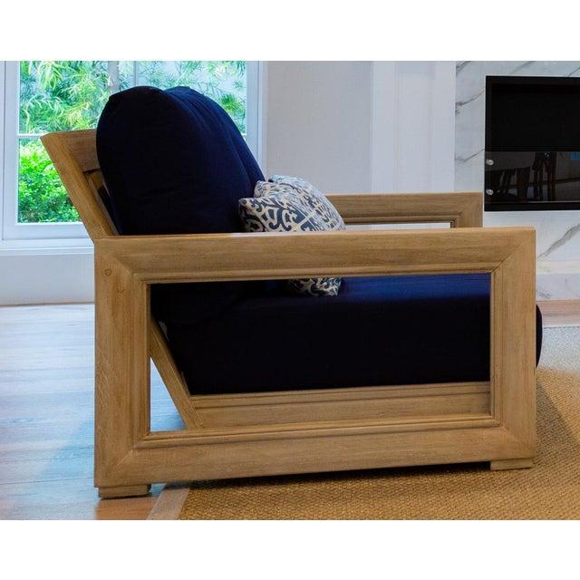 "Traditional Restoration Hardware 55"" Costa Teak Classic Sofa & Cushions For Sale - Image 3 of 6"