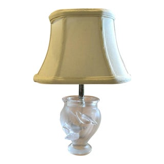 Vintage Lalique Clear Frosted Crystal Glass Rosine Lamp For Sale