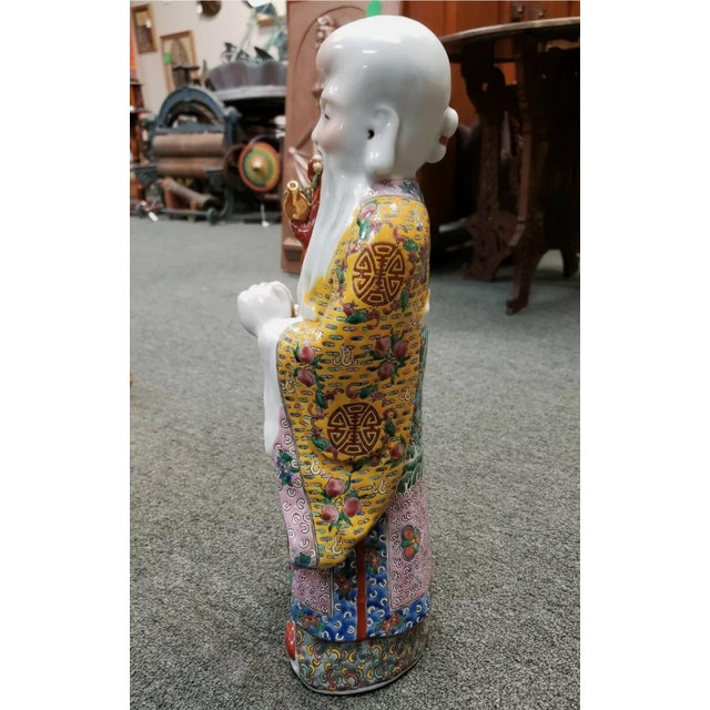 1920s Circa 1920 Chinese Famille Rose Porcelain Shou Lao Statue (Early Republic) For Sale - Image 5 of 7