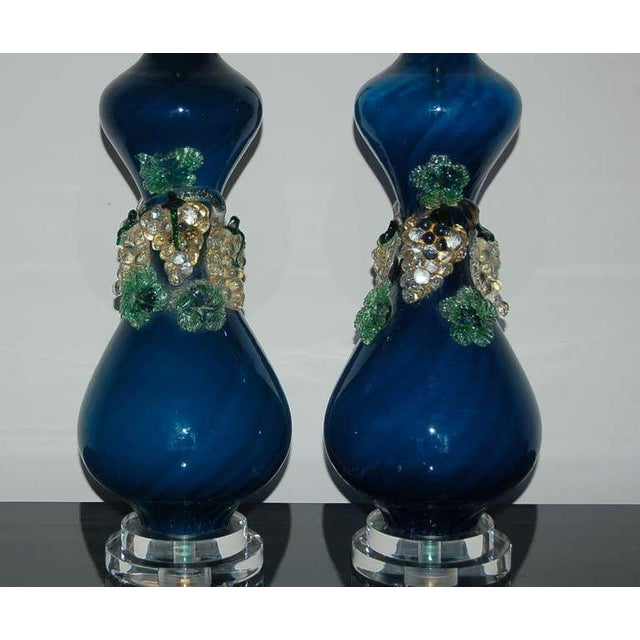 Hollywood Regency Vintage Murano Glass Fruit Table Lamps Blue For Sale - Image 3 of 8