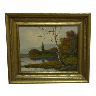 "Late 20th Century Vintage Fedor ""The Lake in Summer"" Painting For Sale"