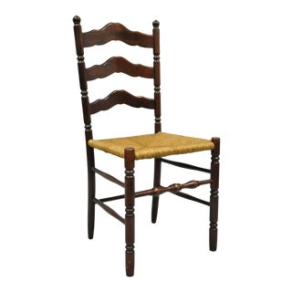 Early 20th Century Antique American Primitive Cherry Wood Woven Rush Seat Ladder Back Side Chair For Sale