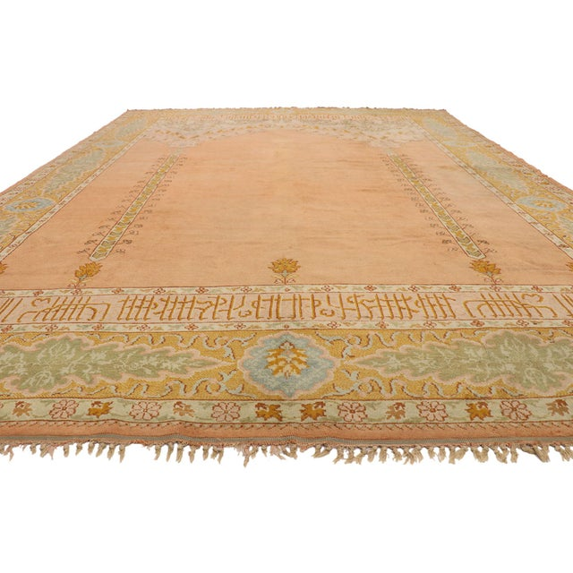 French Late 19th Century Antique Turkish Oushak Rug - 10'09 X 13'03 For Sale - Image 3 of 10