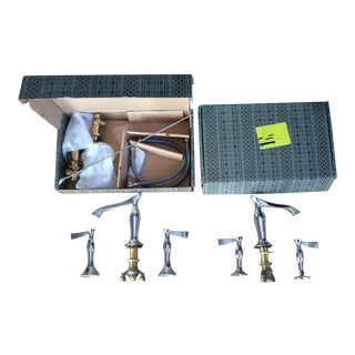 Art Deco Brizo Rsvp Chrome Wide Spread Lavatory Faucet Set For Sale
