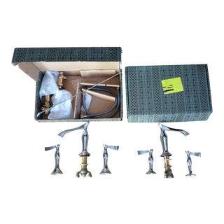 Art Deco Brizo Rsvp Chrome Wide Spread Lavatory Faucet Set For Sale