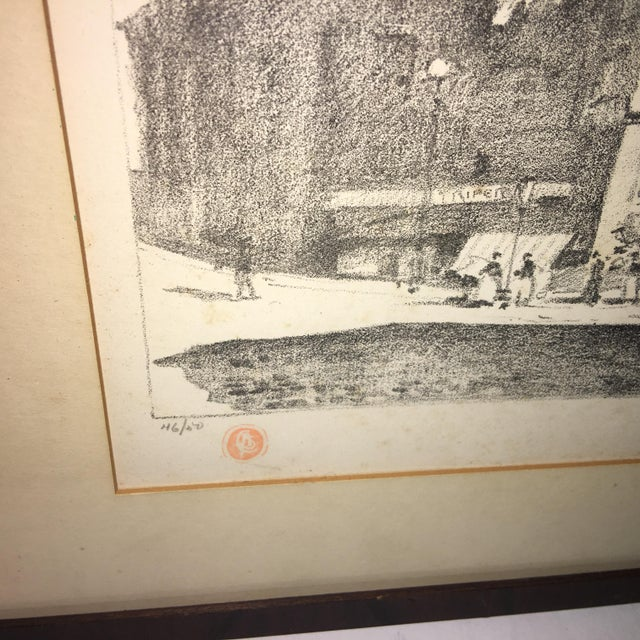 Early 20th Century Antique European Town Scene Lithograph Print For Sale - Image 4 of 7