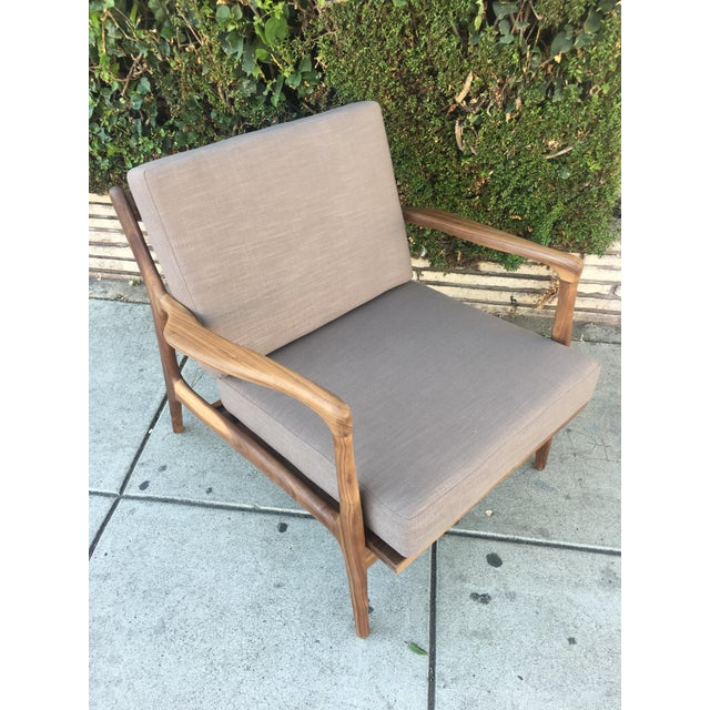 Custom Walnut Lounge Chair in Soft Taupe Gray For Sale - Image 4 of 13