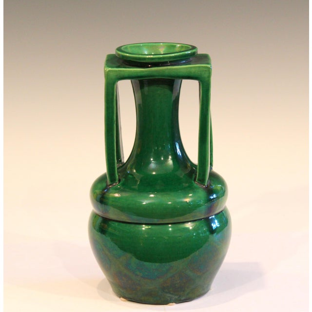 Vintage Awaji vase in terrific organic form with four architectural handles and rectangular collar supporting the...